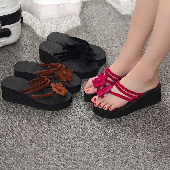Femmes Loisirs Fleur Plate-forme antidérapante Chaussures Wedges Talons hauts Pantoufles SJF71227731_1001