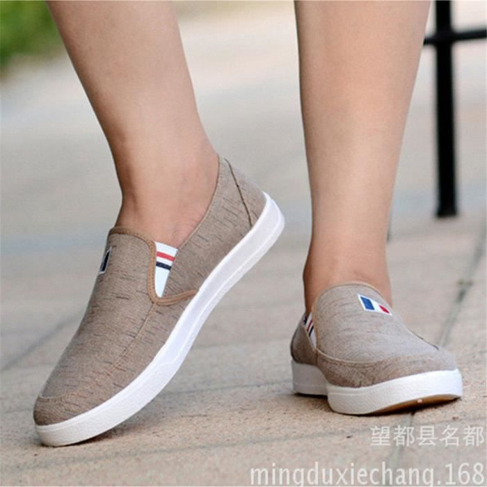 MOCASSIN Printemps Style Plat Casual Chaussures Toile Chaus