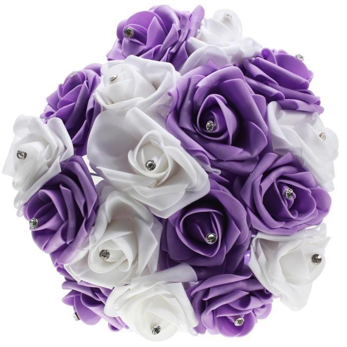 bouquet mariee violet et blanc achat vente pas cher. Black Bedroom Furniture Sets. Home Design Ideas