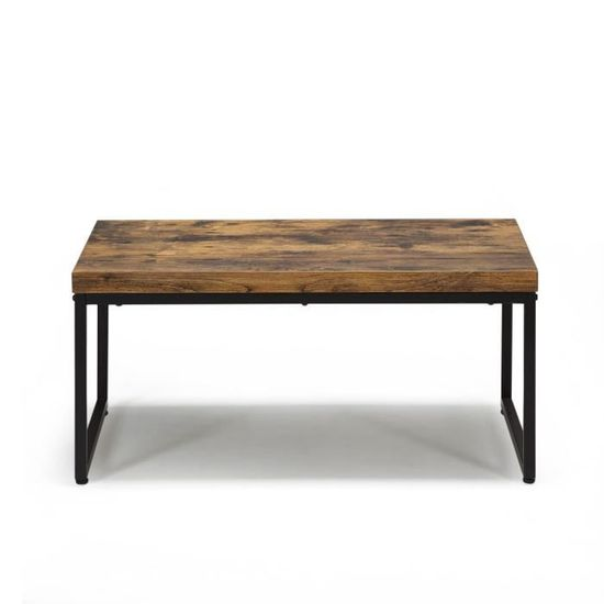 Manille Table Basse Style Exotique Effet Bois Et Acier Achat Vente Table Basse Manille Table Basse Style E Cdiscount