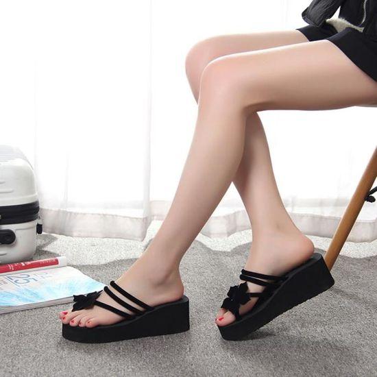 Loisirs Antidérapante Chaussures Talons Fleur forme 1001 Plate Wedges Hauts Femmes Pantoufles Sjf71227731 PkXuZi