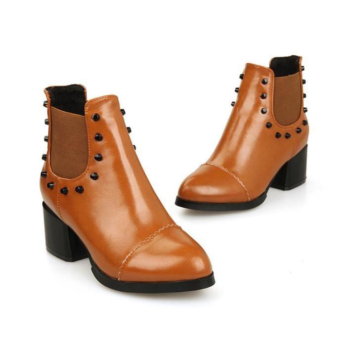 bottes courtes-Pure Color talonpais des femme...