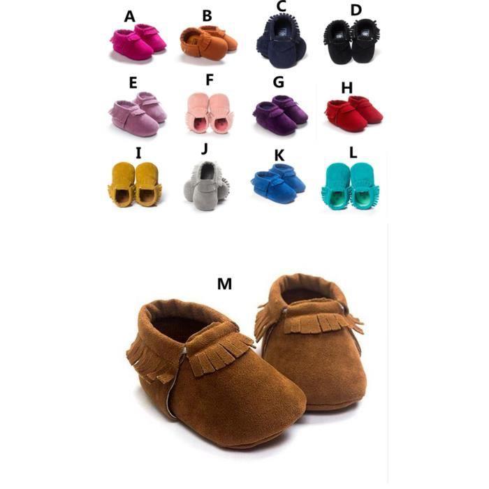 PU Cuir de suède Nouveau-né Mocassins Soft Moccs Chaussures Bebe Fringe Soft Soled Chaussures antidérapantes Berceau Chaussures