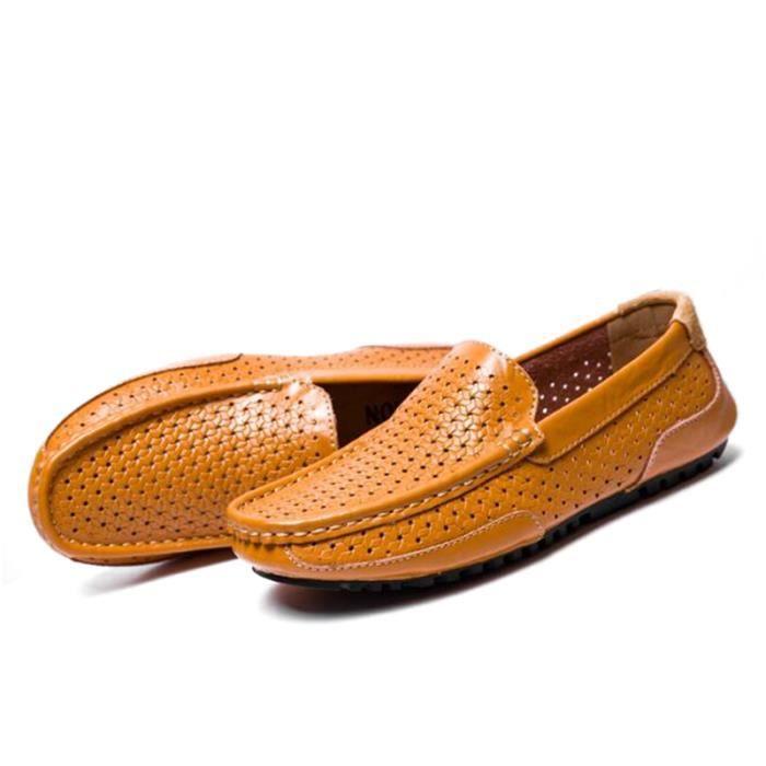 Mocassin Hommes Cuir Loafer Detente Durable Chaussure FXG-XZ089Orange44 uwFDNc