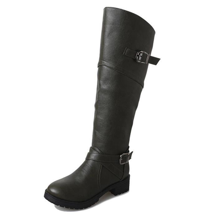 Chaussures Bottes Plat Femmes Faux Knight Cuir vert Pachasky®femme Martin Buckle XYwO1xq