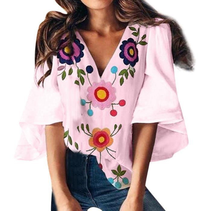 En Imprimer V Femmes D'été Manches T Col Rose shirt Trompette Mode qC4BIwnq