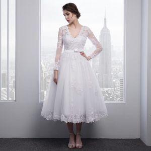 ROBE Appliques en dentelle blanche robe de mariée manch 1d179e86fb7a