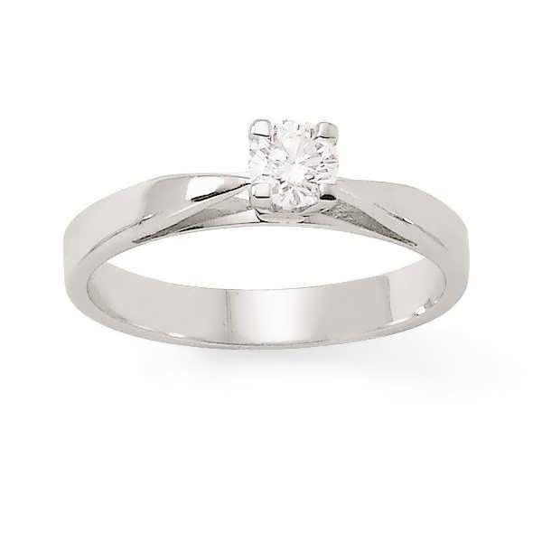 MONTE CARLO STAR - Solitaire en Or Blanc 18 Carats et Diamants 4 Griffes Hautes - Femme