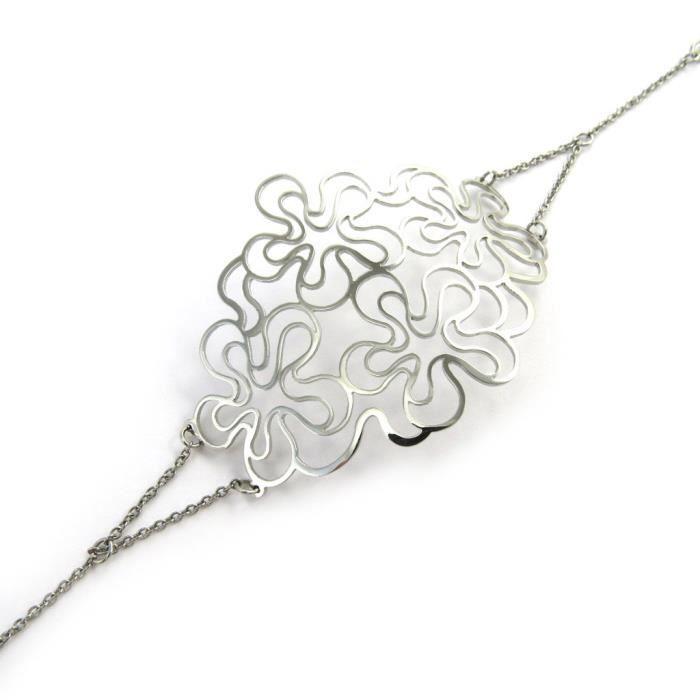 Altesse [M7196] - Bracelet acier Carmen argenté (flora)