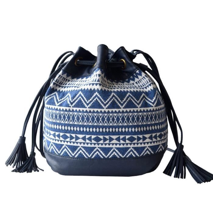 And Teen Girls Drawstring Bucket Bag Small Crossbody Purse Canvas And Pu Leather DQZEX
