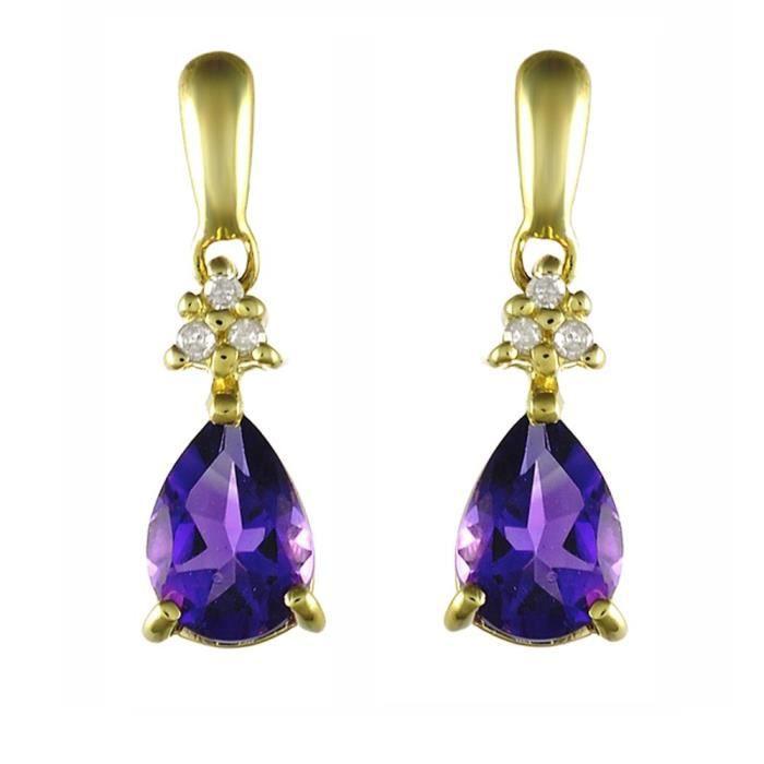 135e1036-01 - Boucles Doreille Femme - Or Jaune 375-1000 (9 Cts) 1.034 Gr - Améthyste-diamant IJBDV