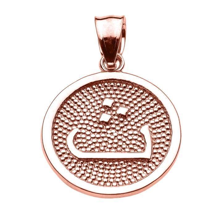 Collier Pendentif 14 ct Or Rose Arabique lettre thaa t initiale Charm(Vient avec une chaîne de 45 cm) Allah islamique