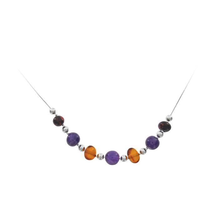 Jouailla - Collier argent 925-1000e ambre