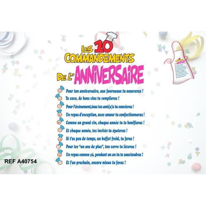 Tablier les 10 commandements de l 39 anniversaire achat vente tablier de cuisine cdiscount - Les tables des 10 commandements ...