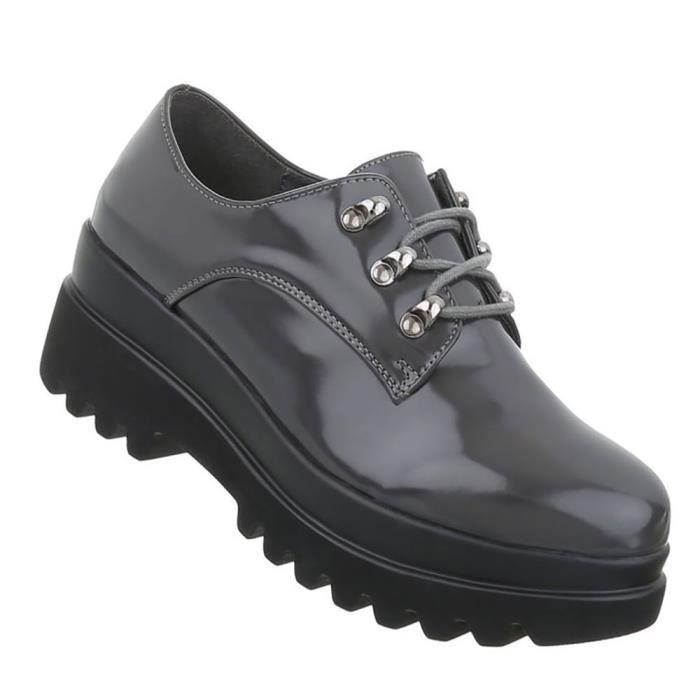 Chaussures femmes flâneurs laçage Bottes gris 41