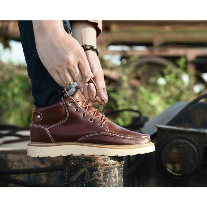 Bottes Hommes loisirs chaussures d'hiver de coton d'isolation thermique Martin bottes d'outillage antidérapant pour raquette à neige cOSLSpV0