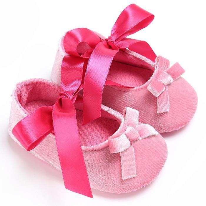 BOTTE Bébé Toddler filles crèche chaussures princesse fleur doux Prewalker chaussures à semelle souple@RoseHM