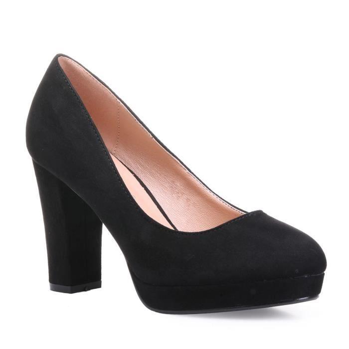 Escarpins noirs en suédine à talon carré-36 Noir Noir - Achat ... dceac342186e