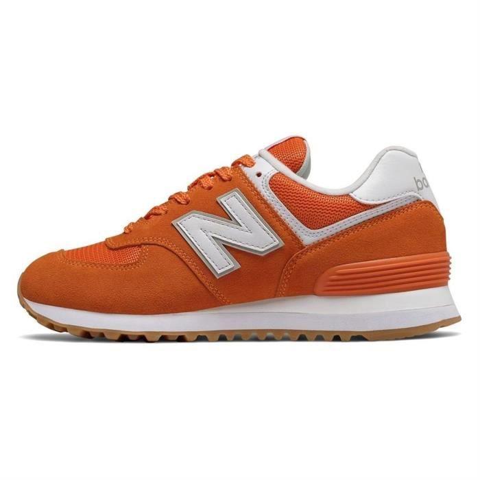 Orange – New Balance 574 Baskets En Daim Orange Femme Orange