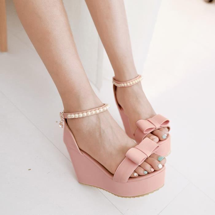talons hauts-Pure Color High Heel Wedge Heel fe... vZSIQYfsxK