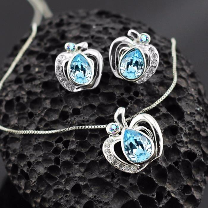 Parure pomme cristal SWAROVSKI ELEMENTS plaqué or blanc couleur Bleu turquoise