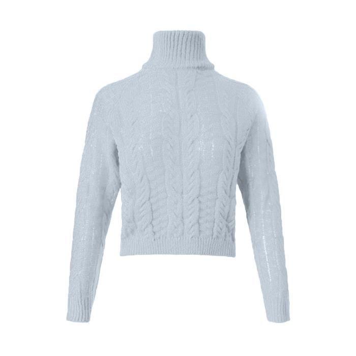 Haut Tricoté Ombilicale Col Femmes Les D'hiver Torsion Pull Casual gris Sexy wZqEx4pTS