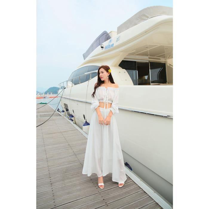 Party Dress Sexy Bohême Mousseline de Soie de Femmes Maxi Dress Off-épaule Crop Top Cocktail Robe Longue Robe de P…