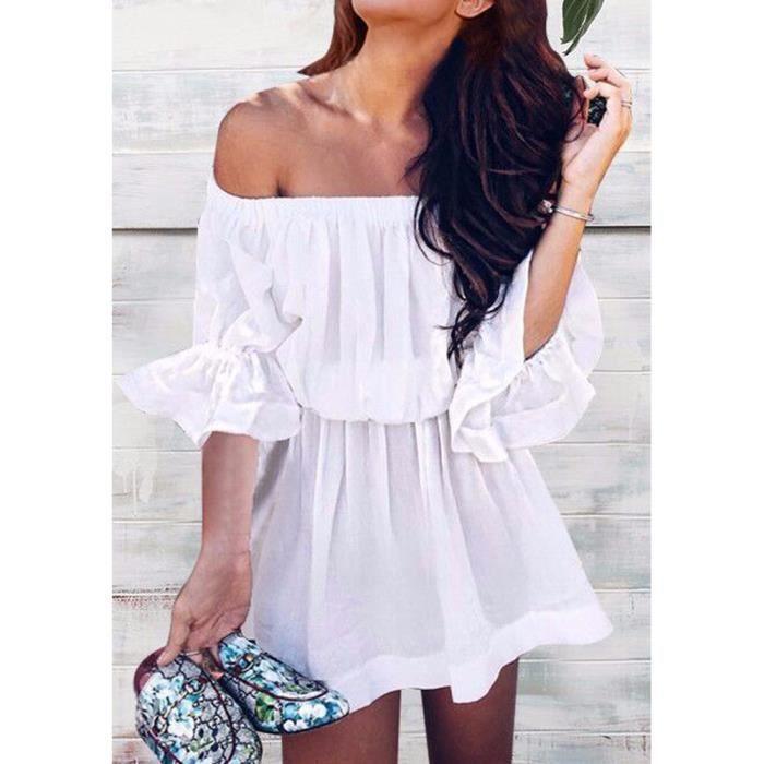 Robe G8790 Blanc Taille L Sexy Sans manche Flare Sleeves Slash Neck Élastique Waist SunPlage Mini