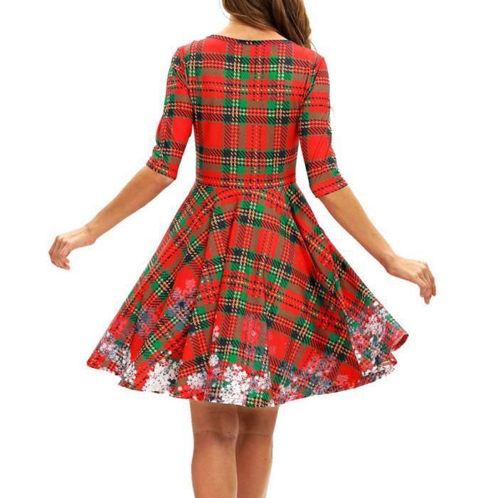 rouge Noël Mi Flocon Femmes Neige Robes Mi O Party Mini Manches De longues Robe Mesdames longue Cou Bpaw8qp