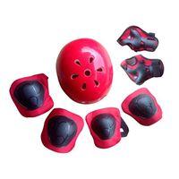 7Pcs coude poignet genouillères et casque sport équipement de protection pour enfants patinage - rouge