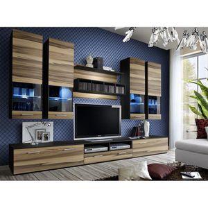 MEUBLE TV MURAL Ensemble meuble TV DORADE en wengé et noyer de hau