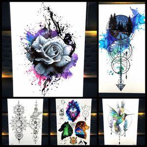 5 Morceaux Aquarelle Rose Temporaire Tatouage Autocollant Femmes
