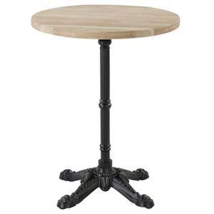 TABLE BASSE Table bistrot plateau rond chêne 60 x 60 cm piétem
