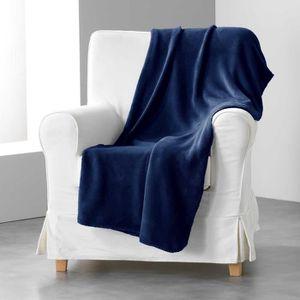 COUVERTURE - PLAID Jete de canape 180 x 220 cm coral uni louna Bleu n