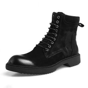 BOTTINE Bottine Haute aide bottes bottes en cuir rétro bot