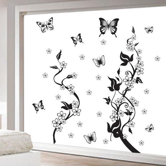 noir vigne de fleur et papillons stickers muraux. Black Bedroom Furniture Sets. Home Design Ideas