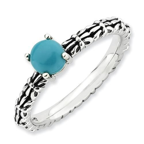 2,5 mm Argent Sterling Expressions empilable antique Turquoise-Taille 1/2–N