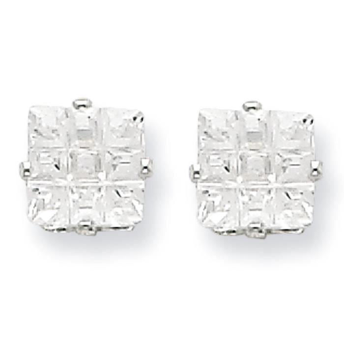 5 mm Argent 925/1000–zircone carré 4 dents-Boucles doreille clous