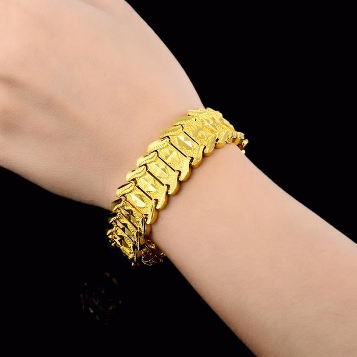 BRACELET - GOURMETTE Bracelet homme Chaîne de poignet Or jaune 18k plaq
