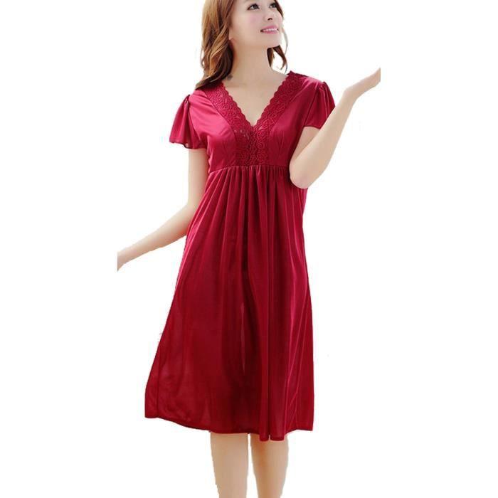 Robe de chambre femme dentelle rouge