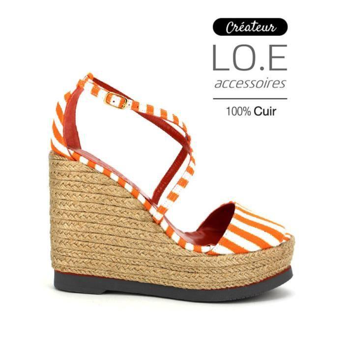 sandale - nu-pieds, Compensées Orange Chaussures Femme, Cendriyon