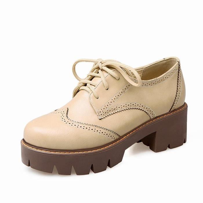 De 43 Pu Les noir Femme Gris Pointures En À Élégante 35 Chaussures blanc Toutes Cuir Plateforme Ronde La x6Wv8