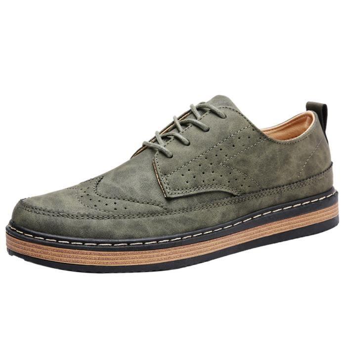 Les chaussures de loisirs Style britannique Sneaker suédé hommes mode anti-glissement Bottine homme Grande Taille 39-44,vert,42