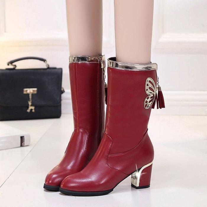Napoulen®Femmes chevalier boucle bottes Martin plat en cuir Mode populaire Marron-XMM71025533BW nEpvwaO