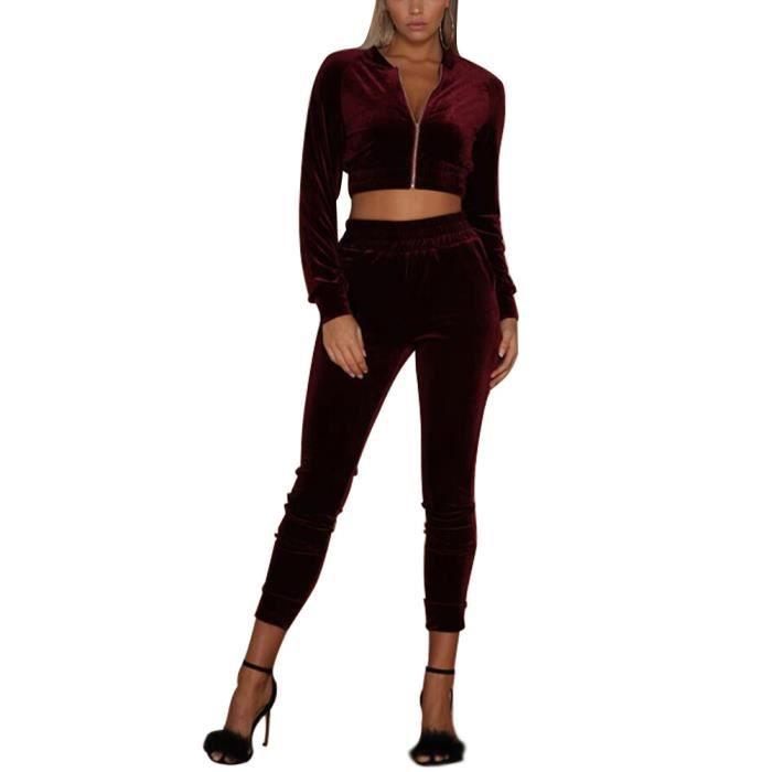 ... Longue Veste Blouson Sweat-Shirt à Capuche Jogging Pantalon Sports  Suits 2pcs. SURVÊTEMENT Minetom Femmes Velours Ensemble Survêtement Manche 9bb63fd582c