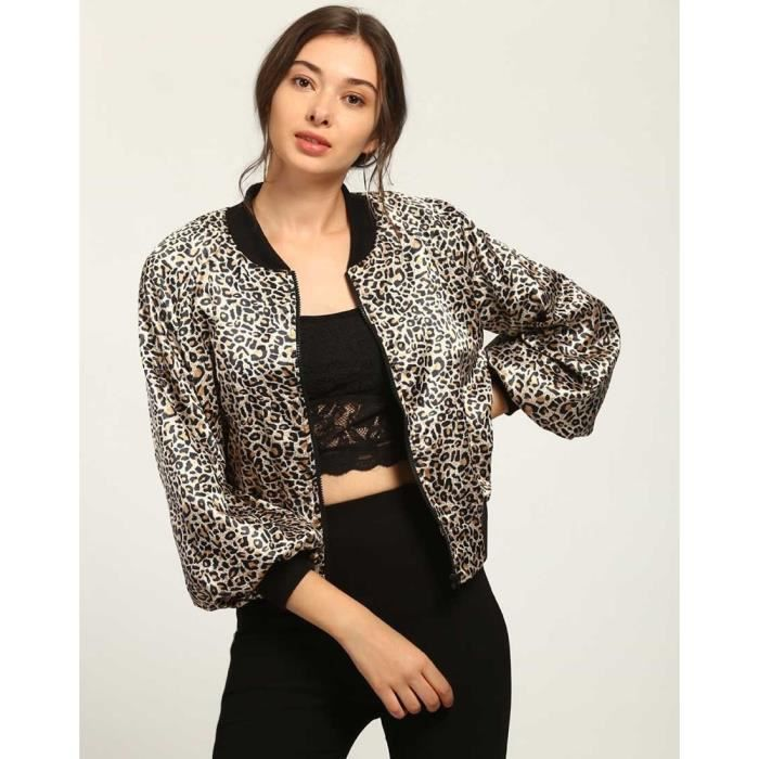 trendtwo bomber imprim kelly animal femme veste en satin imprim animal bomber jacket vgb0u. Black Bedroom Furniture Sets. Home Design Ideas