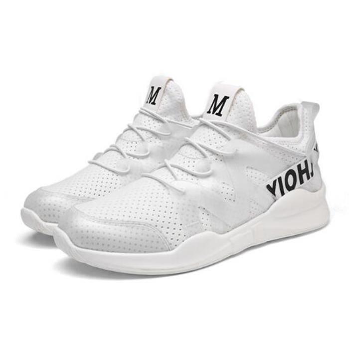 Basket Homme Femme Maille Respirante Chaussures de Course Blanc