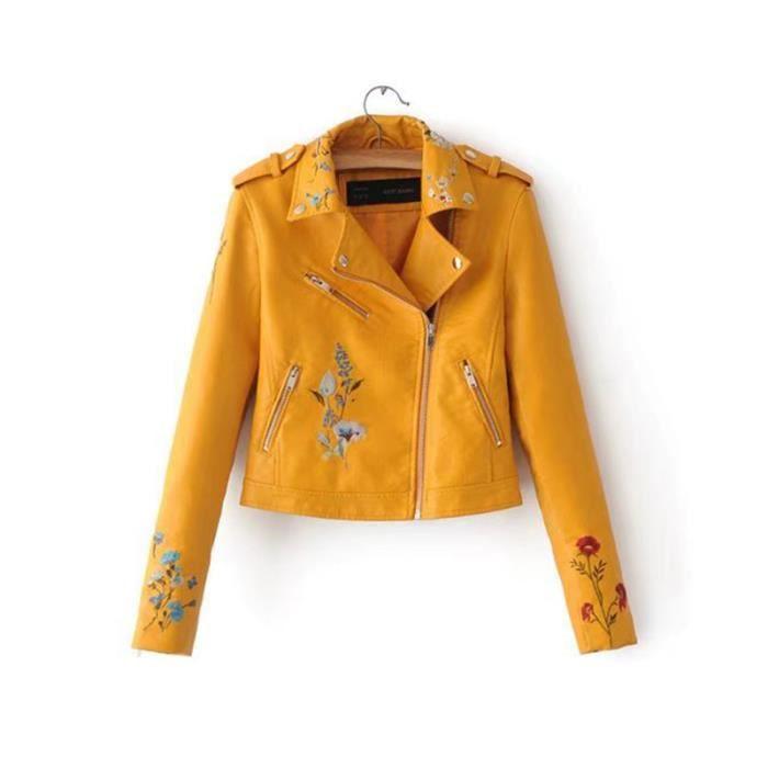 bddf394f5d05f Blouson cuir jaune femme - Achat / Vente pas cher