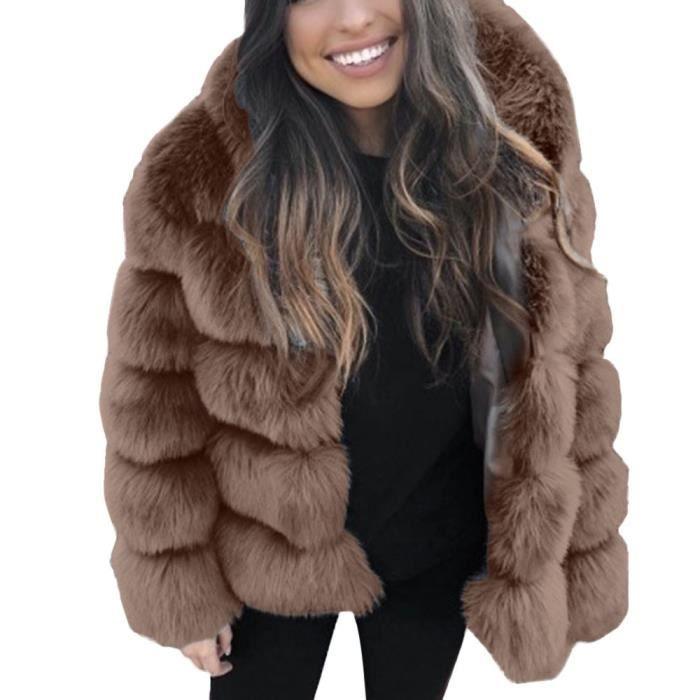 acheter pas cher à bas prix taille 7 Veste en fausse fourrure pour femme en fausse fourrure d'hiver à capuche  chaude et épaisse marron RR81106611W