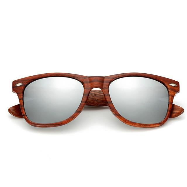 meilleur site web f3824 07314 2019 Lunettes de soleil Homme & Femmes lunettes de soleil Lunettes  d'aviateur effet miroir Grain de bois imitation Gris